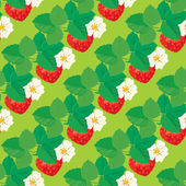 Seamless pattern with Strawberries with flowers and leaves. — Stock Vector