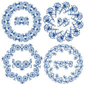 Set of  blue floral circle frames. Background in the style of Ch — Stock Vector