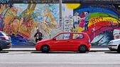 BERLIN, GERMANY - June 17, Berlin Wall graffiti seen on June 17, 2015, Berlin, East Side Gallery. Its a 1.3 km long part of original Berlin Wall which collapsed in 1989. — Stock Photo