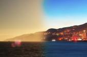 Montage of Yalta skyline night to day Crimea - Russia — Stock Photo