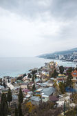 Many of buildings city near the sea view. Yalta, Crimea, Russia — Photo