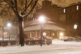 Snowing at the Old Railroad Station — Stock Photo