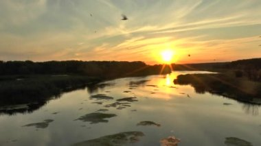The sunset (sunrise) above the forest and river in summer, time lapse, — Stock Video