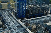 Chemical manufacturing plant construction — Stock Photo