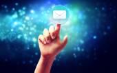 Hand pressing a envelope icon — Zdjęcie stockowe