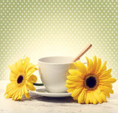 Coffee cup with big yellow gerberas — Stock Photo