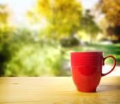 Red coffee mug — Zdjęcie stockowe
