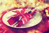 Holiday Dinner Plate Setting — Stok fotoğraf