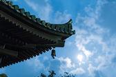 Ancient Japanese Pagoda with Moon — Zdjęcie stockowe