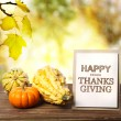 Happy Thanksgiving card with pumpkins — Stock Photo #54078727