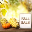 Fall Sale sign over yellow autumn leaves background — Stock Photo #54515379