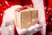 Santa Claus with Gift Box — Stock Photo