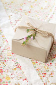 Hand crafted present box — Stock Photo