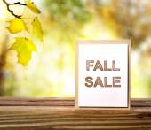 Fall Sale sign over yellow leaves background — Stok fotoğraf