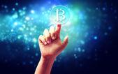 Bitcoin with hand — Stock Photo
