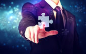 Piece of puzzle with businessman — Stok fotoğraf