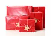 Red gift boxes with tags  — Stock Photo
