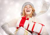Happy Young Woman with Christmas Gifts — Стоковое фото