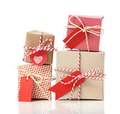 Stack of handcraft gift boxes — Stock Photo