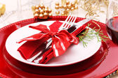 Holiday Dinner Plate Setting — Stockfoto
