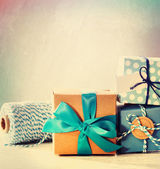 Light blue handmade gift boxes  — Foto Stock