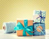 Light blue handmade present boxes  — Foto Stock