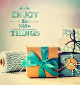 Enjoy the little things with blue handmade gift boxes — ストック写真