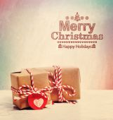 Merry Christmas text with cute little gift boxes — ストック写真