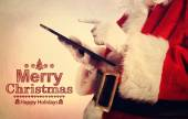 Santa Claus with tablet — Foto Stock