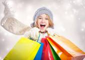 Happy Young Woman with Shopping Bag — Fotografia Stock
