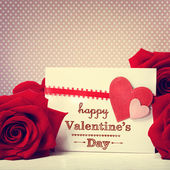 Valentines day message with red roses — Stock Photo