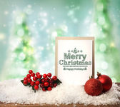 Merry Christmas card with baubles — Stock Photo