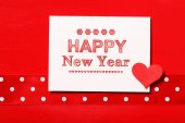 Happy New Year message with heart — Fotografia Stock