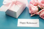 Happy Retirement card with gift — Stock Photo