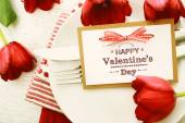 Valentines message and red tulips — Stock Photo