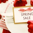Dinner table setting with Spring Sale message — Stock Photo #65311145