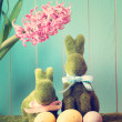 Easter bunnies with eggs — Stock Photo #66438867