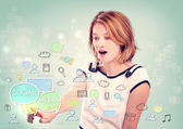 Woman pointing to social media concepts — Stock Photo