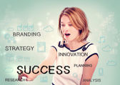 Woman pointing at success concept — Stock Photo