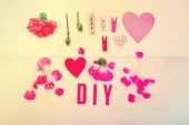 DIY text with carnations — Stock Photo