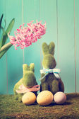 Easter bunnies with eggs — Stock Photo