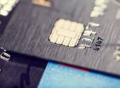 Microchip and numbers on bank card — Fotografia Stock