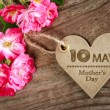 May 10th Mothers Day heart shaped card with roses — Stock Photo #68273803
