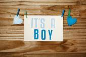 ITS A BOY card with clothespins — Stock Photo
