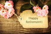 Happy Retirement message with roses — Stock Photo