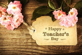 Happy Teachers Day message with pink roses — Fotografia Stock