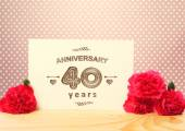 40 years anniversary card with carnation — Stock Photo