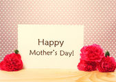 Mothers Day message card with carnations — Stock Photo
