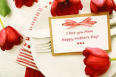 Dinner table on Mothers day — Stock Photo