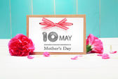 May 10th Mothers Day card with carnations — Stock Photo